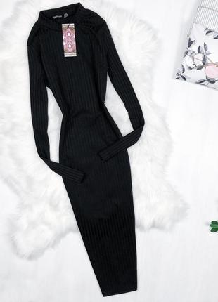 Базова сукня-гольф довжини міді \ базовое черное платье гольф миди boohoo