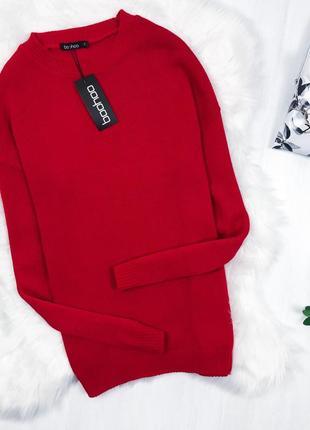 Крутий червоний оверсайз светрий \ красный оверсайз свитер пуловер джемпер boohoo