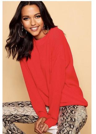 Крутий червоний оверсайз светрий \ красный оверсайз свитер пуловер джемпер boohoo2 фото