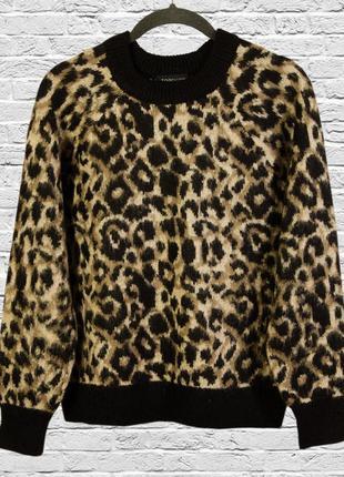 Леопардовый свитер приталенный, свитер из мохера