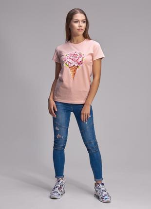 Дизайнерская футболка цифровая печать мороженное с цветами helen stone