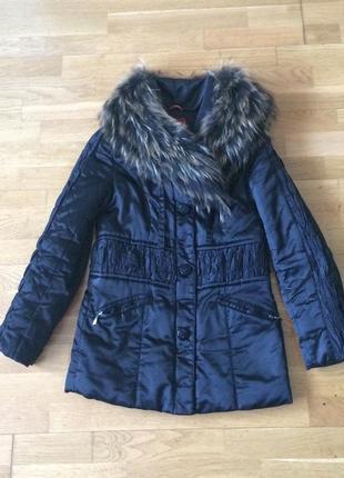 Куртка зимняя / пуховик на синтепоне натуральный мех