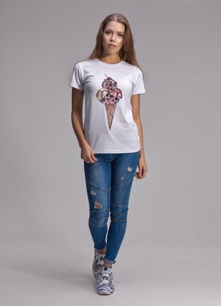 Крутая базовая футболка с дизайнерским принтом мороженное с черепами helen stone