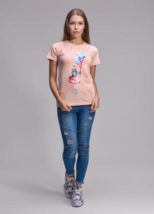 Дизайнерская футболка с милым принтом девочка с шариками helen stone