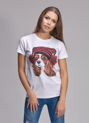 Базовая белая футболка с крутым принтом цифровая печать собачка helen stone