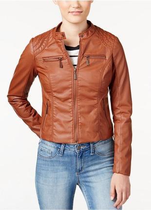 Стильная мото куртка кожзам из сша фирмы jou jou - l