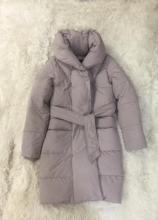Пальто лавандовое пуховое