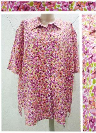 Блуза в цветы большой размер
