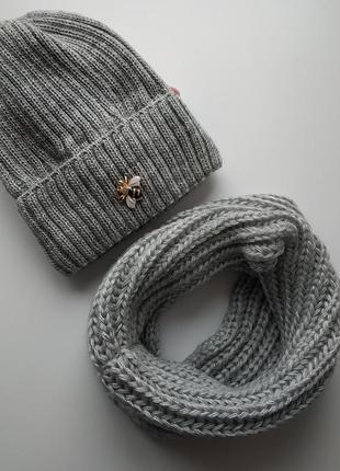 Комплект шапка и хомут, 50% шерсть