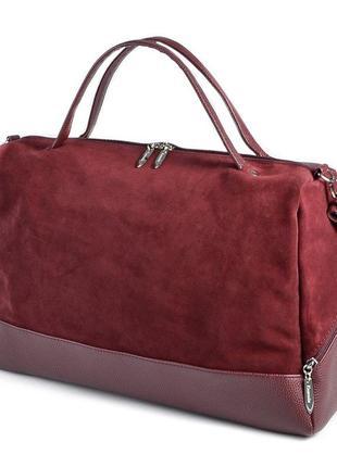 Бордовая замшевая сумка шоппер через плечо большая мягкая комбинированная
