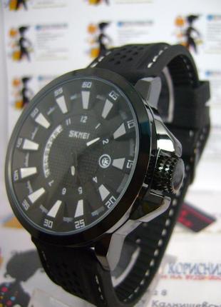 Мужские наручные часы skmei 9152 с датой на силиконовом ремешке