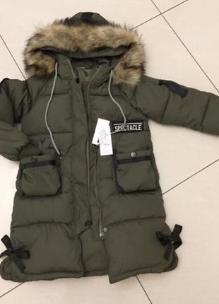 Зимова курточка на дівчинку, пуховик, зимнее пальто на девочку 128-134