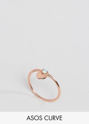 1+1=3 до 30/11 кольцо из позолоченного серебра с сердечком asos curve бижутерия