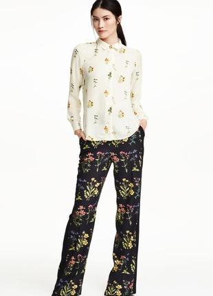 Брюки кюлоты штаны с лампасами высокая посадка цветочный принт
