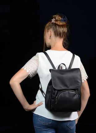 Красивый женский рюкзак чёрный для учебы, прогулок, спортзала