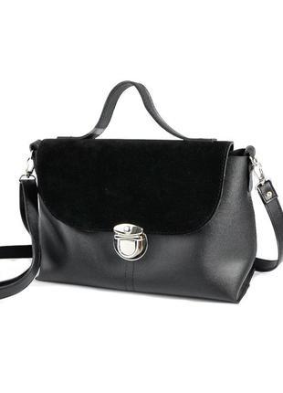Черная замшевая деловая сумка портфель с ручкой и ремешком через плечо
