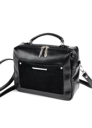 Черная деловая маленькая сумка чемоданчик через плечо кроссбоди