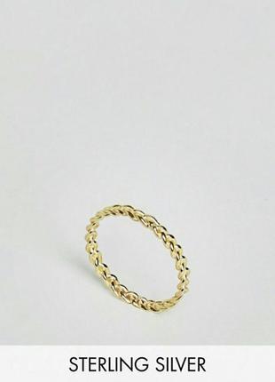 Кольцо плитение asos золотое