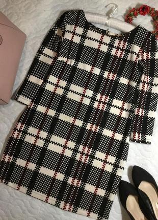 Платье в клетку из фактурной ткани 12 размер