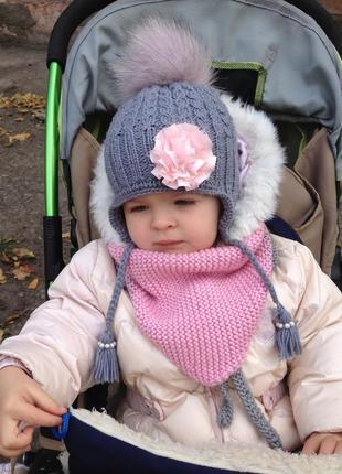 Вязаный бактус шарф для девочки4