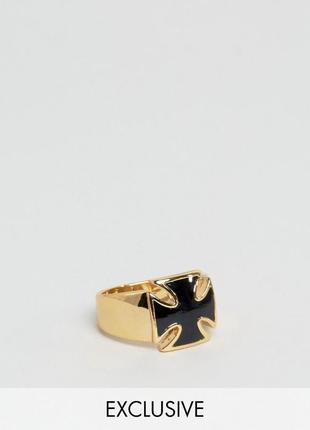 1+1=3 до 30/11 кольцо с черным камнем в форме креста reclaimed vintage inspired asos