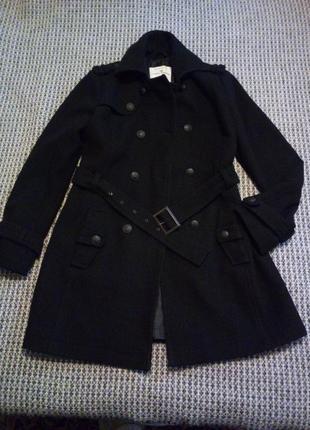 Шерстяное черное пальто tom tailor