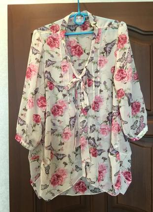 Удлиненная блуза/ рубашка / пог 54