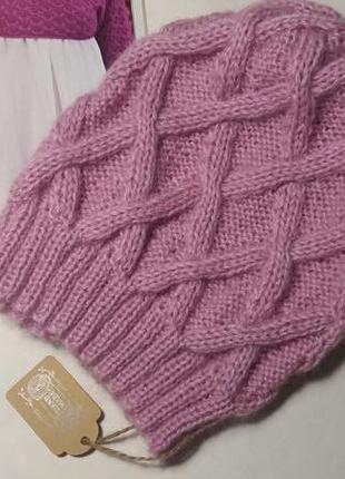 Прекрасная вязаная шапка с ромбами hand made