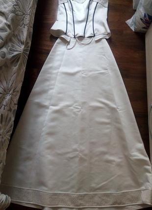 Белый нарядный костюм: юбка+ корсет