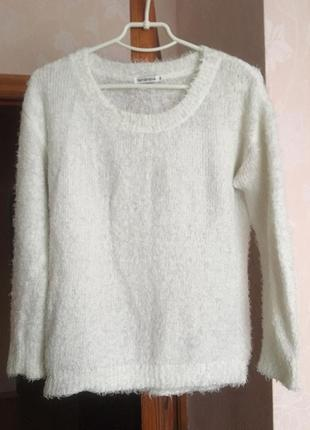 Пушистый белый свитер, кофта с ворсинками, свитер-травка