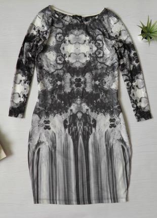 Распродажа! стильное платье с длинным рукавом узоры river island миди сукня платя