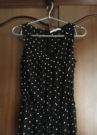 Чёрный в горошек вискозный комбинезон ромпер сдлинными брюками george