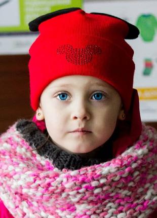 Красно-черная шапочка mimi микки маус 2-6 лет