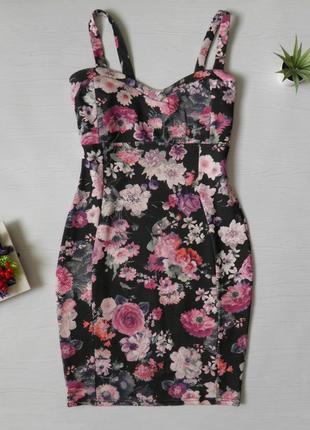 Платье миди сукня платя платье в цветы на тонких бретелях f&f нарядное