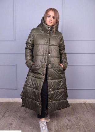 Теплая удлиненная куртка-пальто на зиму силикон-300 размеры: 46-64