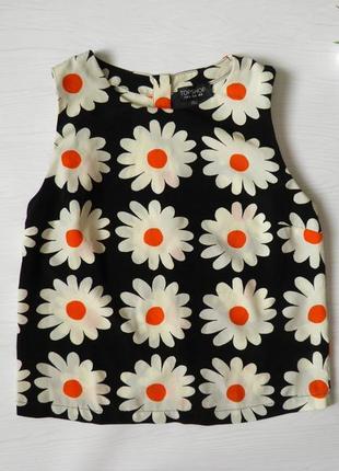 Блуза в ромашки блуза топ кроп топ top shop пуговицы