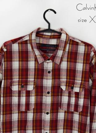 Calvin klein size xxl мужская рубашка в клетку 2 xl клетчатая бордовая