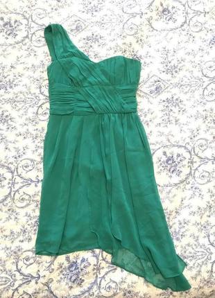 Новое коктельное изумрудное платье h&m на одно плечо