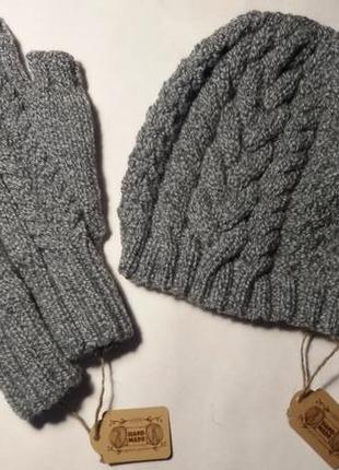 Вязаный мужской комплект митенки и шапка hand made