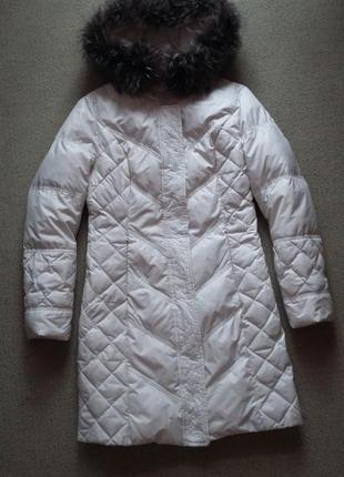 Очень красивое пальто пуховик натуральный пух и мех состояние идеальное р s-m