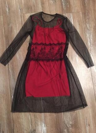 Платье двойка накидка чехол кружево