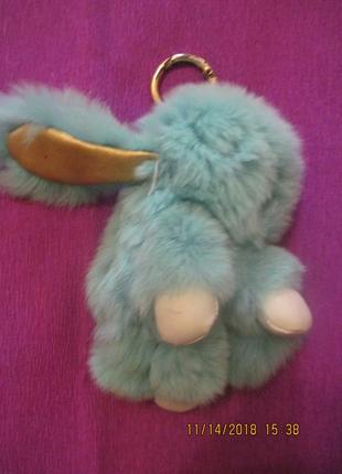 Брелок кролик натуральный мех подвеска меховушка