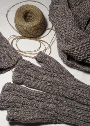 Вязаный комплект hand made 3 в 1, шапка, снуд и митенки, полушерсть