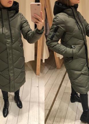 Длинное пальто оливкового цвета house тёплая куртка на синтепоне есть размеры