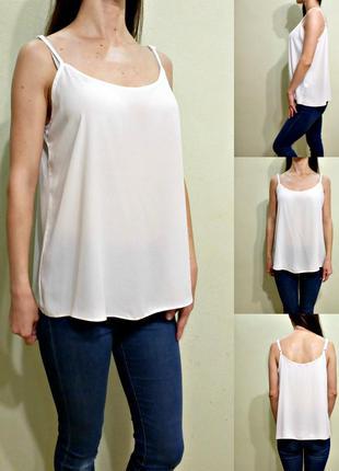 Базовая белая блуза на тонких бретелях 12-14