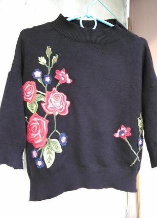 Обалденная укороченная  вышитая блуза/кофта/тёплая