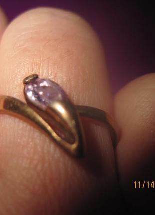 Позолоченое кольцо- капля