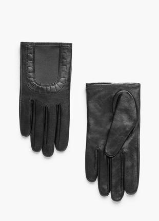 Короткие кожаные перчатки mango