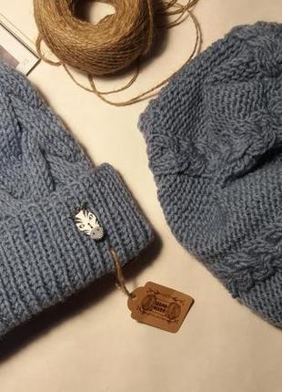 Вязаный комплект шапка, снуд, hand made, полушерсть