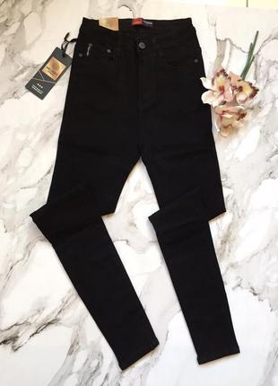 Высокая талия скинни плотный джинс2